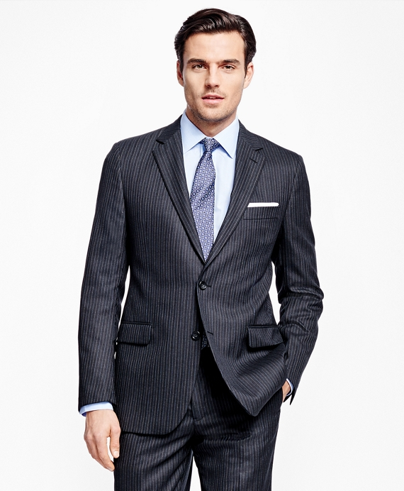 Fitzgerald Fit Saxxon™ Wool Alternating Stripe 1818 Suit Charcoal