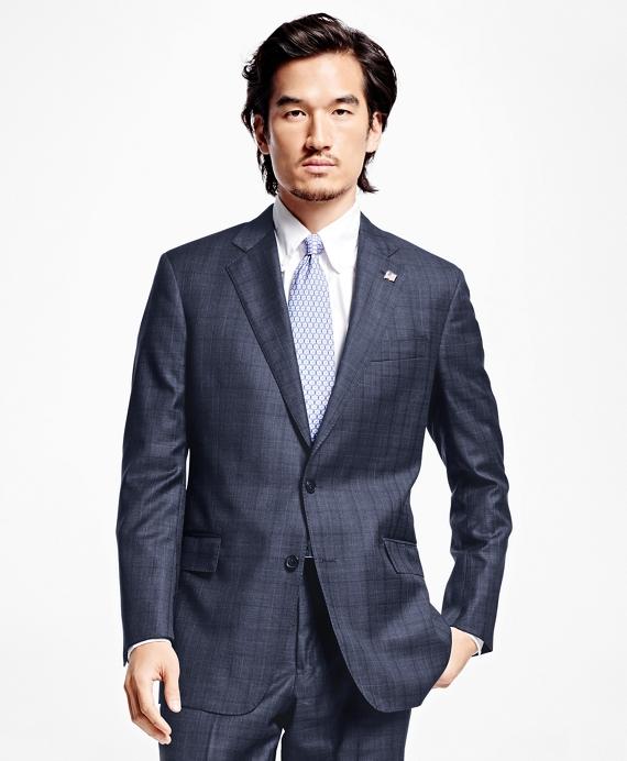 Regent Fit Saxxon Wool Multi Windowpane 1818 Suit Blue
