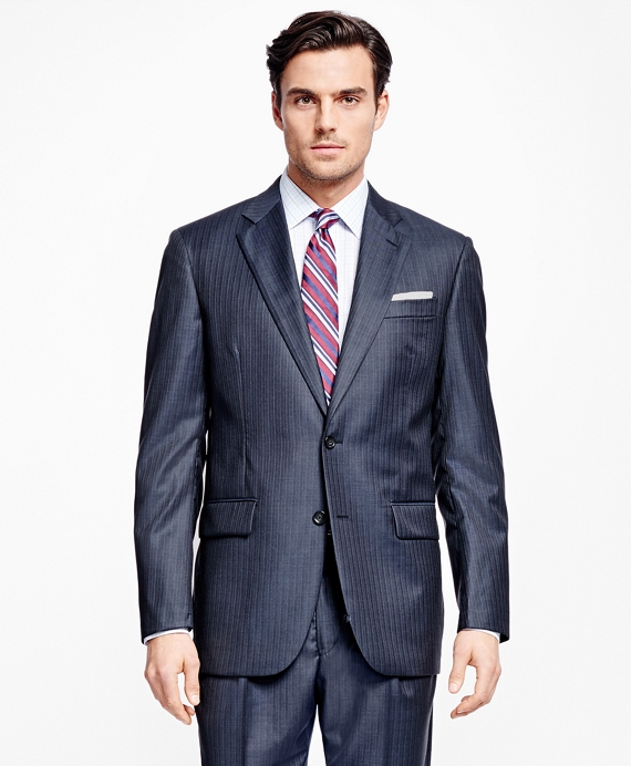Madison Fit Saxxon Wool Alternating Stripe 1818 Suit Blue