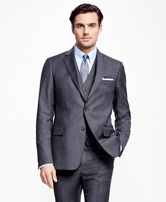 Regent Fit Three-Piece Screen Weave 1818 Suit Charcoal