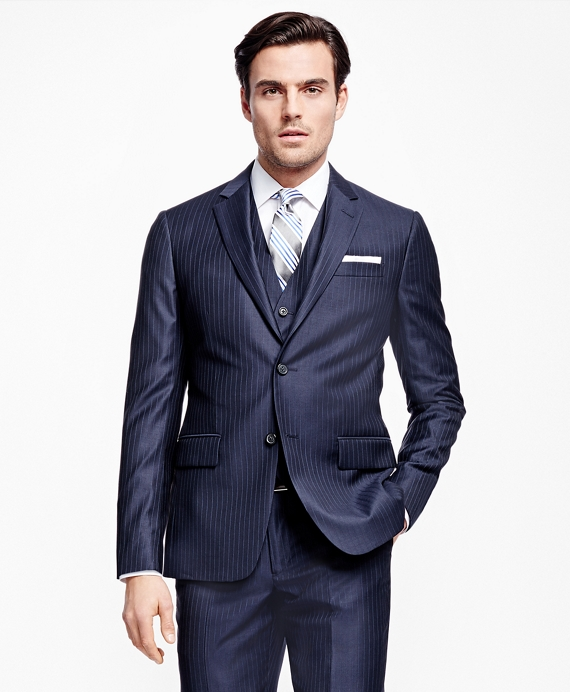 Milano Fit Three-Piece Stripe 1818 Suit Navy