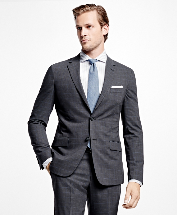 Milano Fit BrooksCool® Tic with Windowpane Suit Charcoal