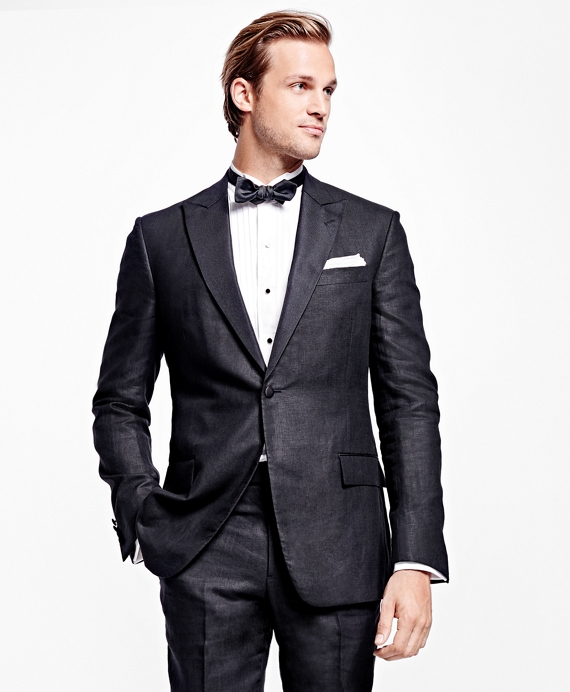 Regent Fit Irish Linen Tuxedo Black