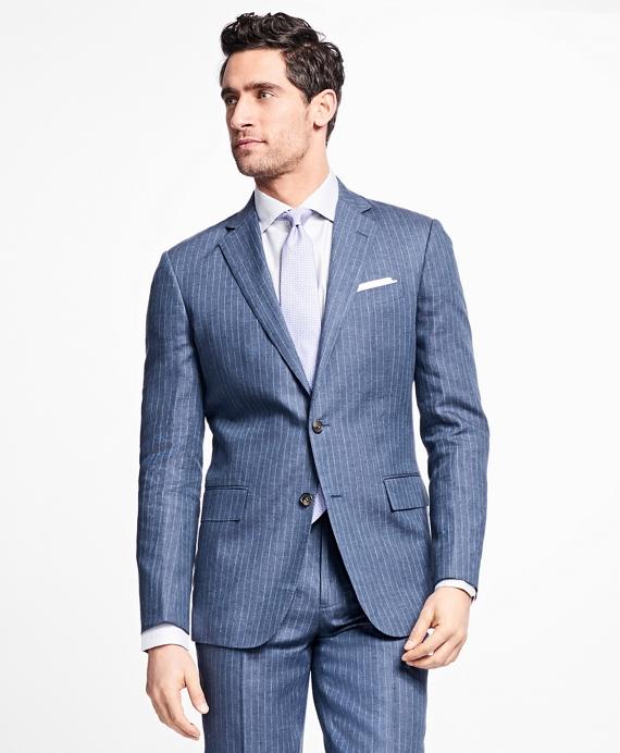 Regent Fit Stripe Linen Suit Blue