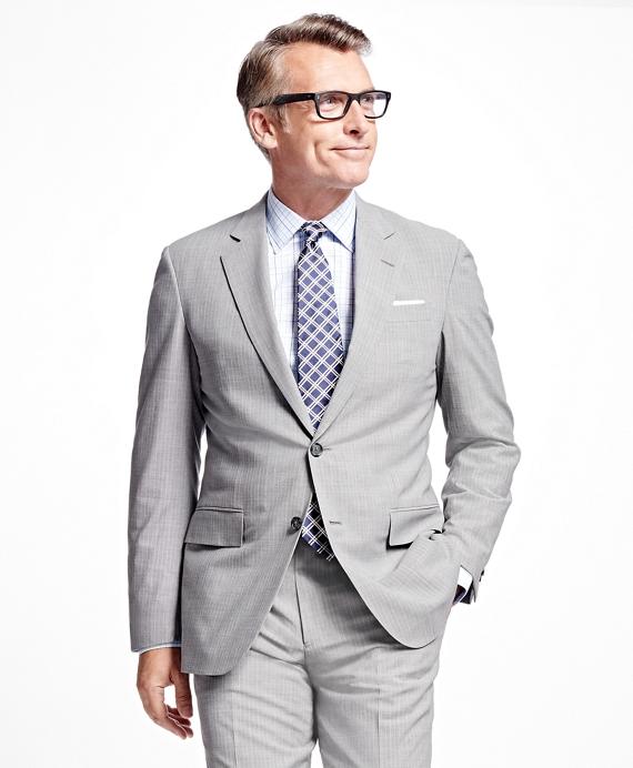 Madison Fit BrooksCool® Alternating Stripe Suit Grey