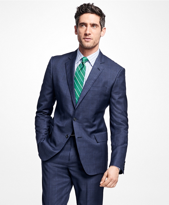 Regent Fit Plaid 1818 Suit Blue