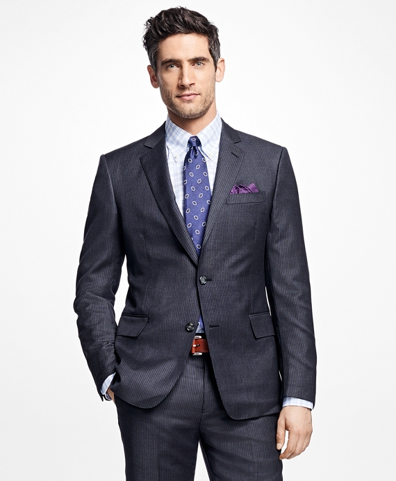 Regent Fit Textured Stripe 1818 Suit Grey