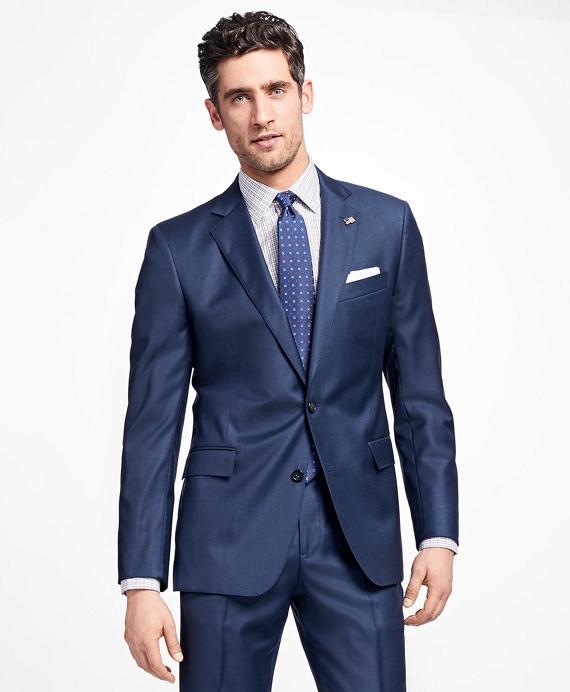 Regent Fit Saxxon Wool Sharkskin 1818 Suit Blue