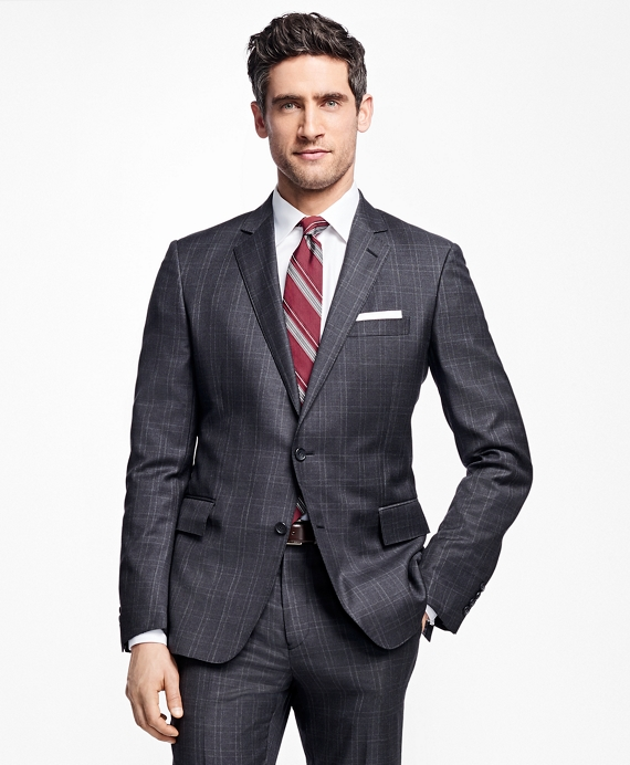 Regent Fit Tic with Double Windowpane 1818 Suit Charcoal