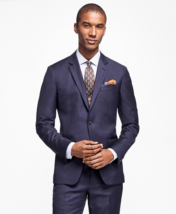 Milano Fit Alternating Stripe 1818 Suit Navy
