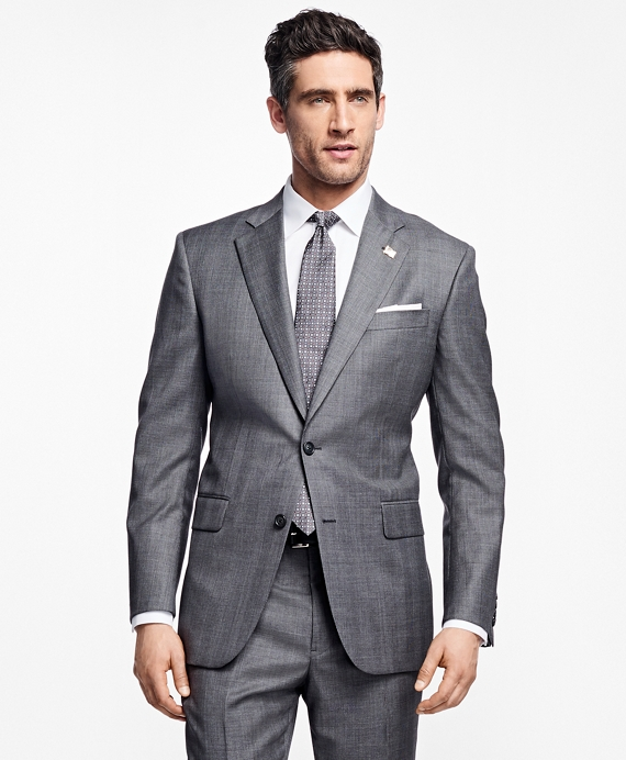 Madison Fit Saxxon™ Wool Plaid 1818 Suit Grey