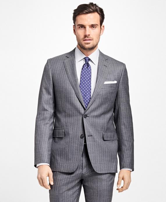 Regent Fit Textured Alternating Stripe 1818 Suit Grey