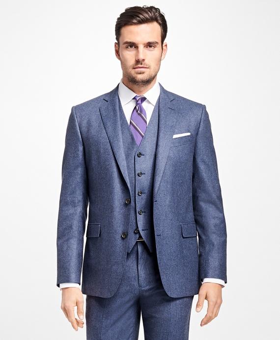 Regent Fit Three-Piece Flannel 1818 Suit Blue