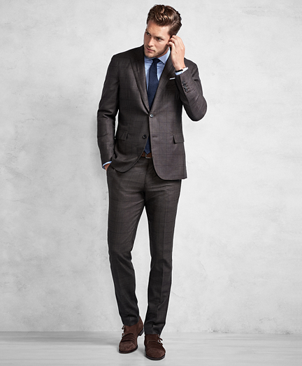Golden Fleece Brown Windowpane Suit