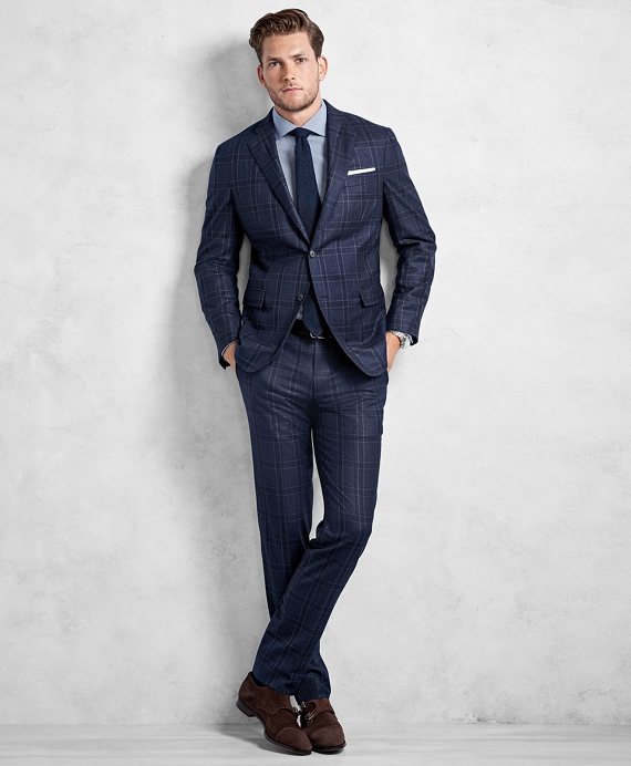 Golden Fleece® Blue and Navy Plaid Suit Blue-Navy