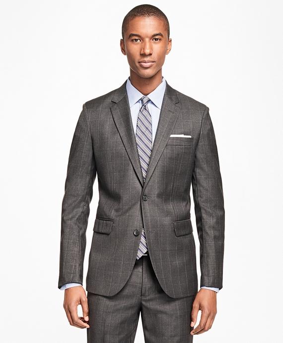 Milano Fit Saxxon Wool Windowpane 1818 Suit Grey