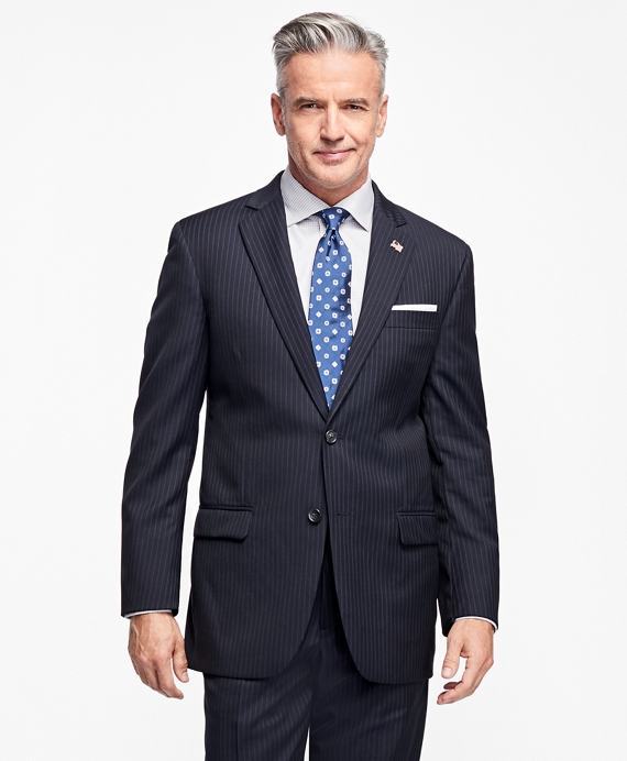Madison Fit Saxxon™ Wool Narrow Double Pinstripe 1818 Suit Navy