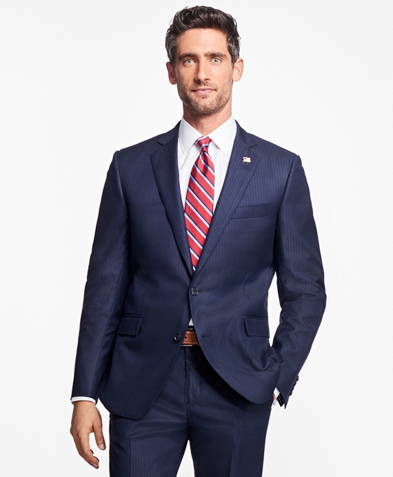 Regent Fit Saxxon™ Wool Stripe 1818 Suit Blue