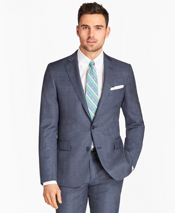 Regent Fit Saxxon™ Wool Plaid 1818 Suit Blue
