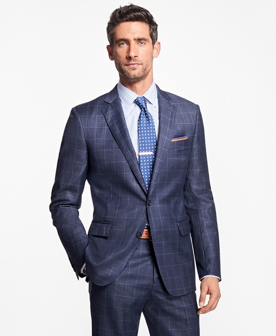 Regent Fit Windowpane 1818 Suit Blue