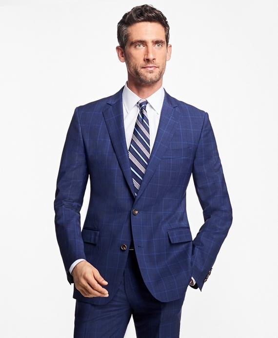 Regent Fit Plaid with Overcheck 1818 Suit Blue