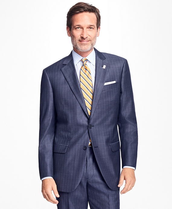 Madison Fit Saxxon™ Wool Stripe 1818 Suit Blue-Grey