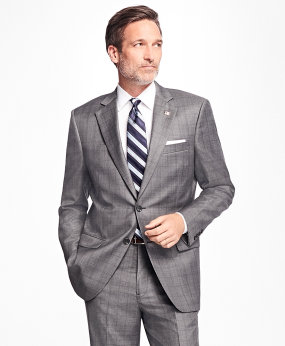 Madison Fit Saxxon™ Wool Glen Plaid 1818 Suit Grey