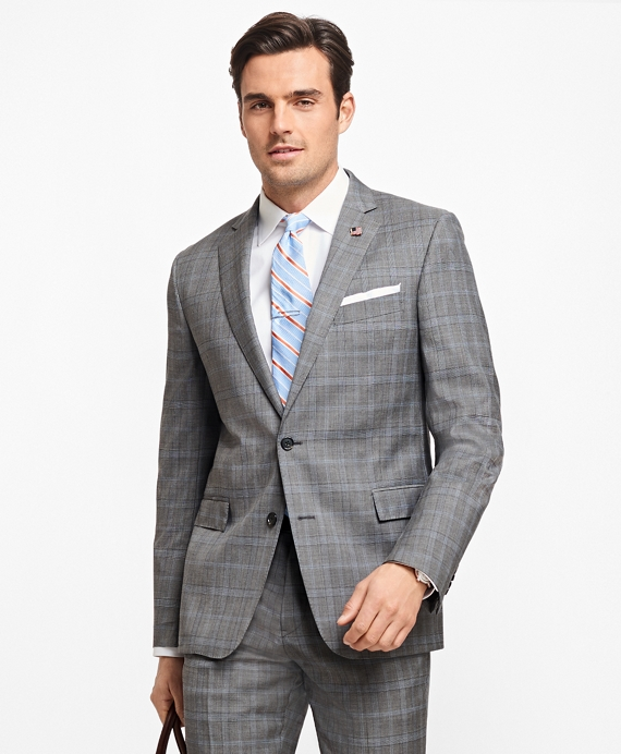 Regent Fit Plaid 1818 Suit Grey-Blue