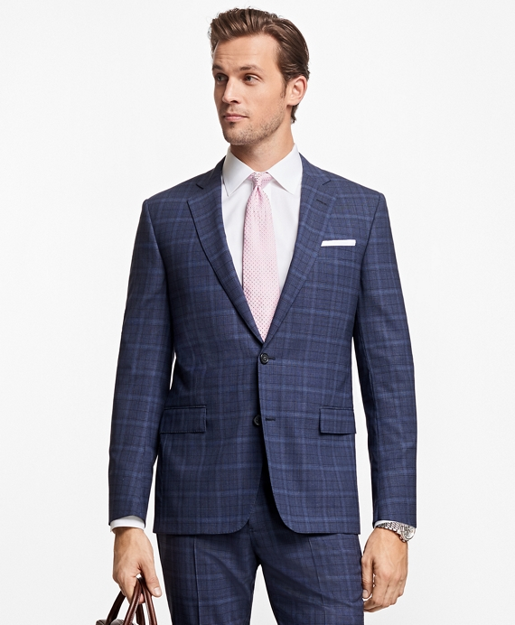 Regent Fit BrooksCool® Plaid Suit Blue