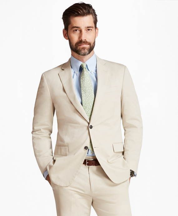 Regent Fit Stretch Cotton Suit Khaki