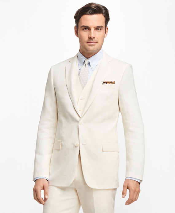 Regent Fit Three-Piece Linen Suit White