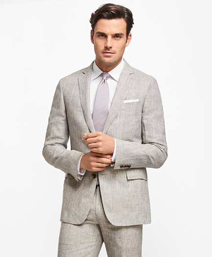Regent Fit Plaid Linen Suit