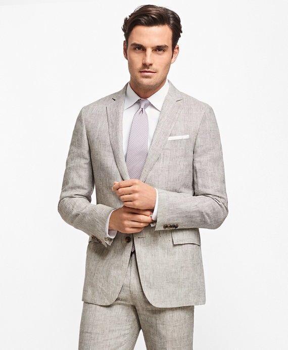 Regent Fit Plaid Linen Suit Tan