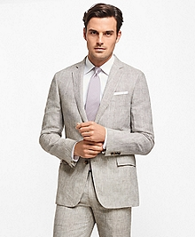 Regent Fit Plaid Linen Suit