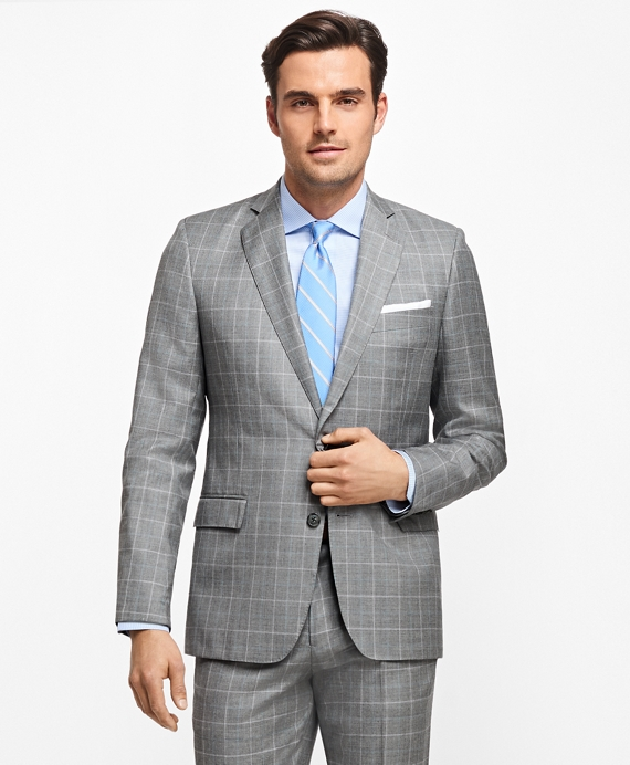 Regent Fit Windowpane 1818 Suit Grey