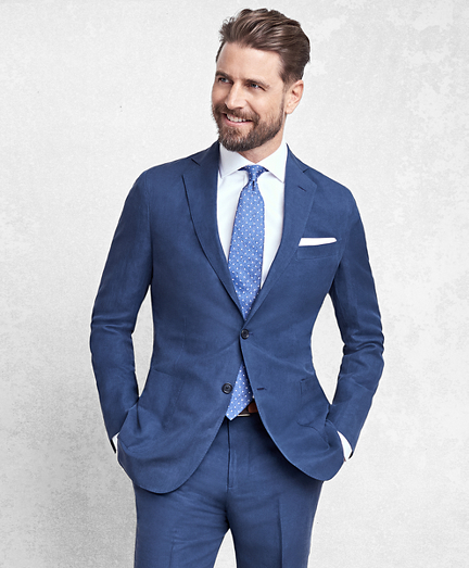 Golden Fleece BrooksCloud Blue Silk and Linen Twill Suit