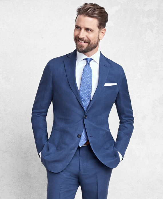 Golden Fleece® BrooksCloud™ Blue Silk and Linen Twill Suit ...