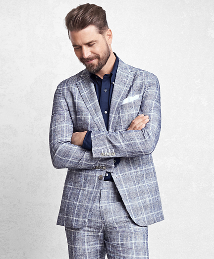 Golden Fleece Navy Glen Plaid Suit