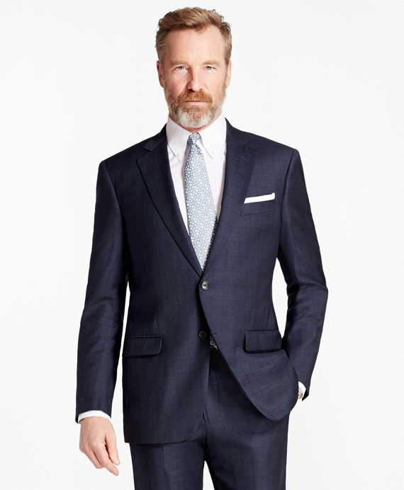 Madison Fit Saxxon™ Wool Plaid 1818 Suit Dark Blue