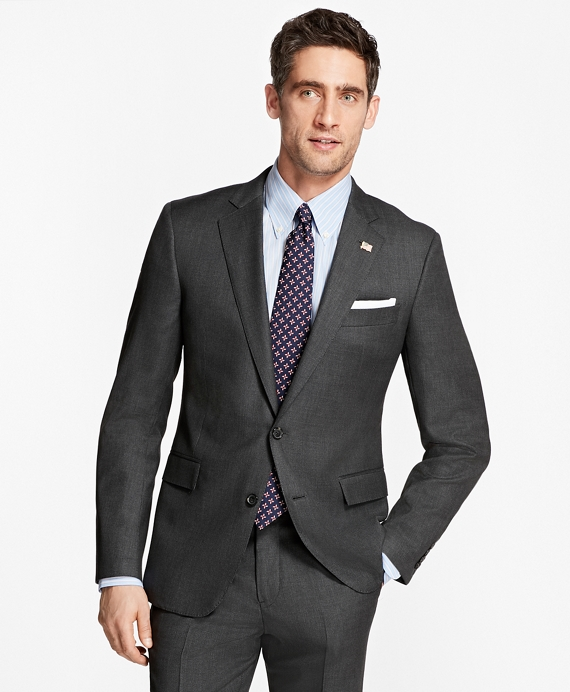 Regent Fit Saxxon™ Wool Neat 1818 Suit Dark Grey