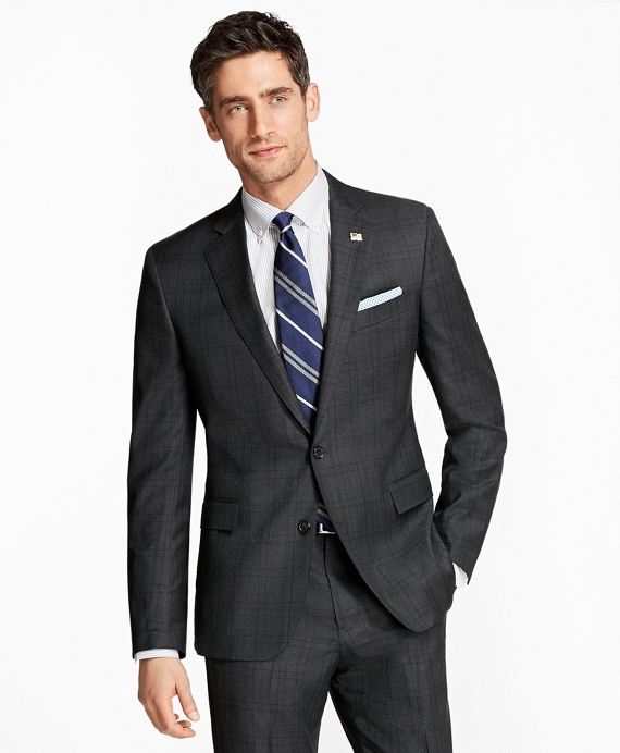 Regent Fit Plaid 1818 Suit Charcoal