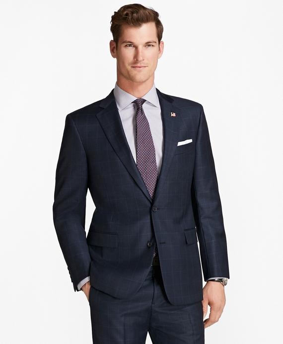 Regent Fit Saxxon™ Wool Tic with Windowpane 1818 Suit Blue