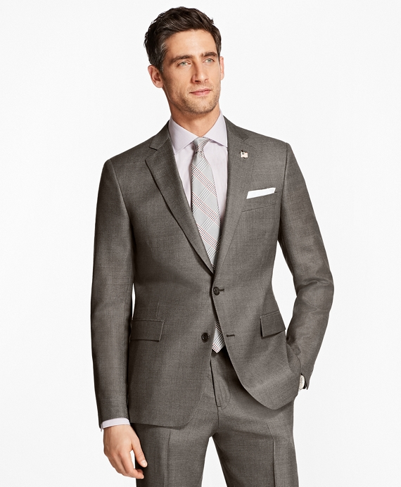 Regent Fit Bird's-Eye 1818 Suit Brown