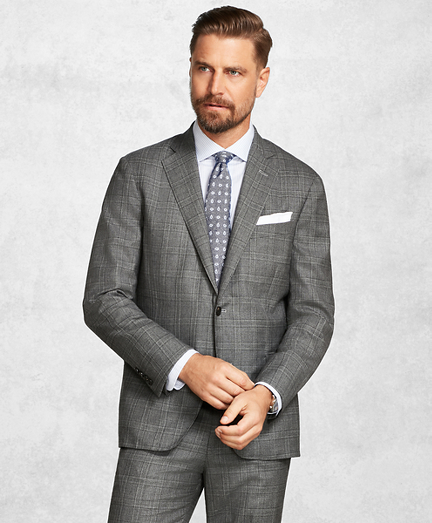 Golden Fleece® BrooksCloud™ Medium Grey Plaid Suit