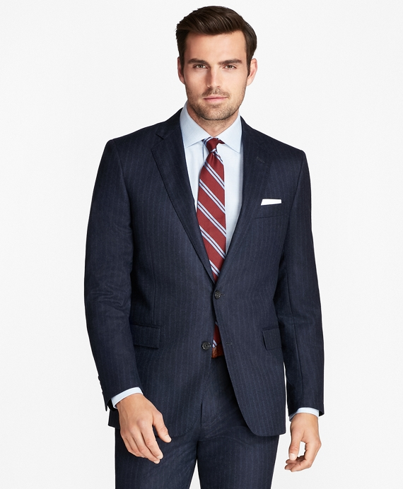 Regent Fit Flannel Stripe 1818 Suit Dark Blue