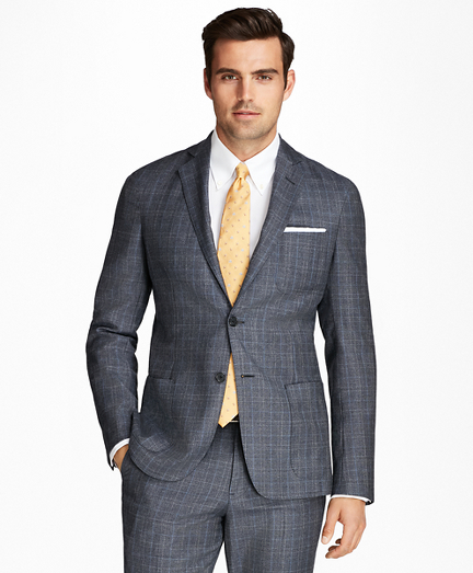 Regent Fit BrooksCloud Flannel Plaid with Windowpane 1818 Suit