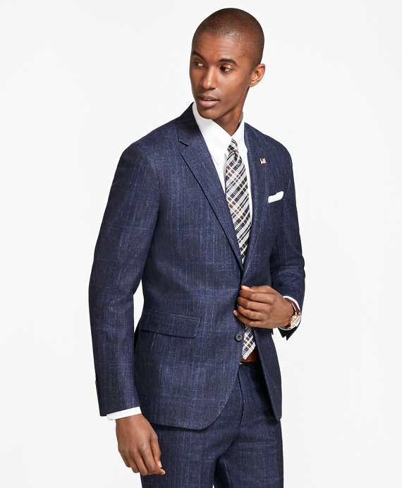 Milano Fit Plaid 1818 Suit Navy