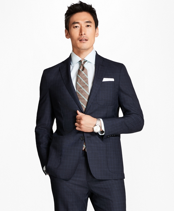 Regent Fit BrooksCloud™ Screen Weave with Windowpane 1818 Suit Blue
