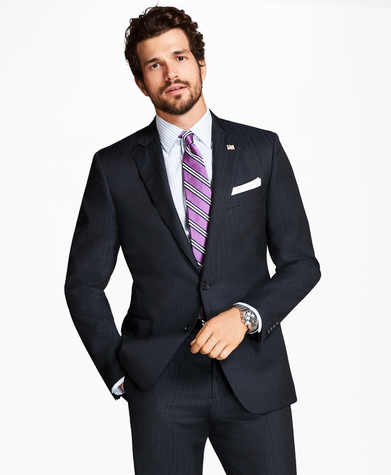 Regent Fit Tic Alternating Stripe 1818 Suit Navy