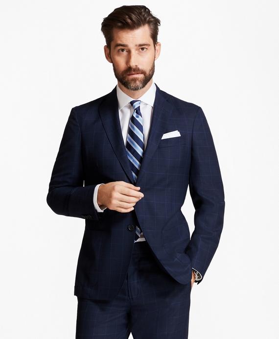 Regent Fit BrooksCloud™ Mesh with Multi-Windowpane Suit Blue